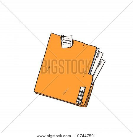Folder Orange Paper Document File Sketch Retro