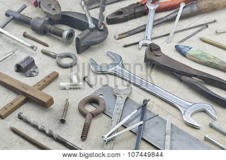 Assorted Old Work Tools On Wooden