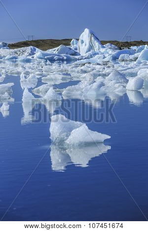 Jokulsarlon is a large glacial lake with floating ice floes