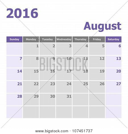 Calendar August 2016 Week Starts From Sunday