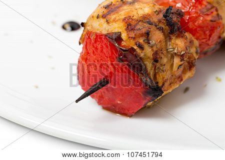 Delicious shish kebab on skewers.