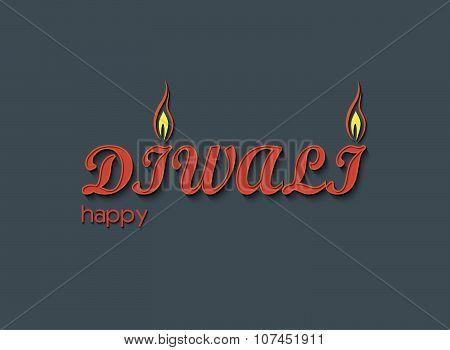Diwali Text Art Design Vector Illustration