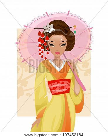 Japanese Geisha. Vector Illustration