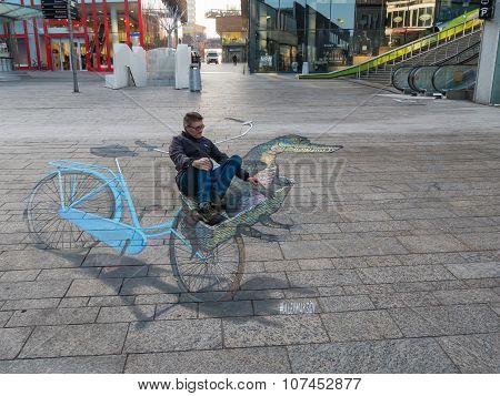 Street art showing optical illusion