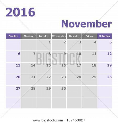 Calendar November 2016 Week Starts From Sunday