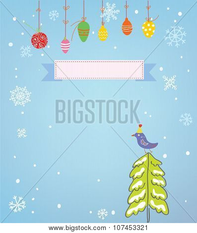 Christmas Background With Frame, Snow, Tree And Bird - Funny Design
