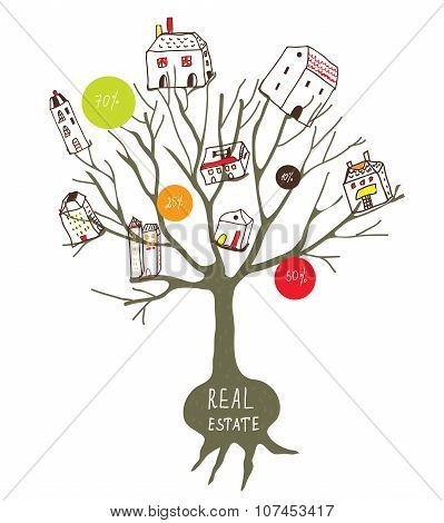 Real Estate Concept With Tree And Houses
