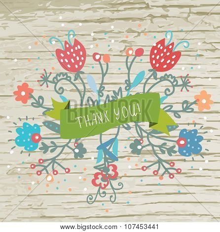 Thank You Card With Flowers And Wood Texture