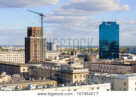Aerial View Of Warsaw And Two Skyscrapers