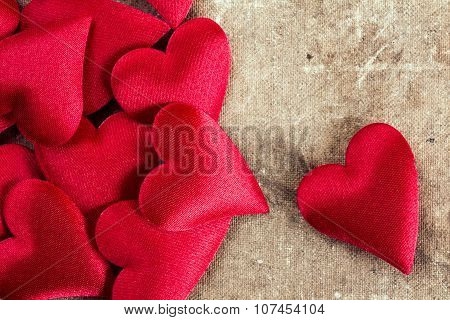 Hearts On Old Canvas Background