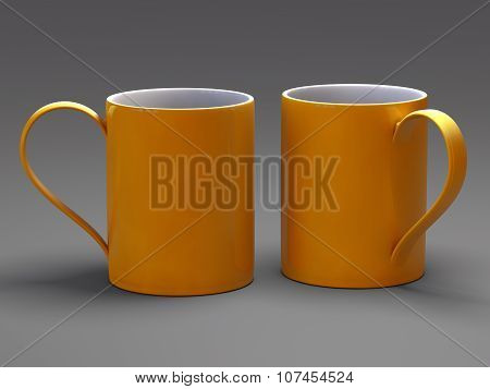 Empty blank mug for coffee or tea isolated on gray background 3D