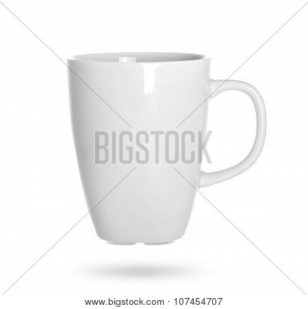 white cup isolated on white background.