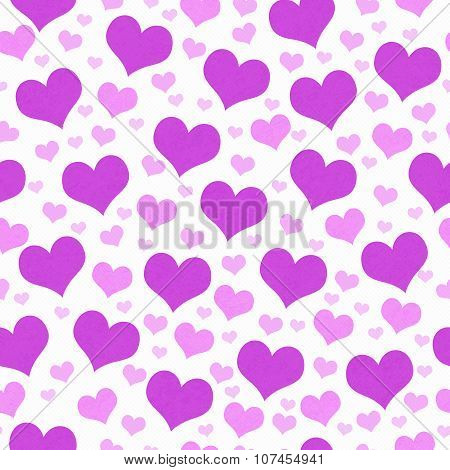 Purple And White Hearts Tile Pattern Repeat Background