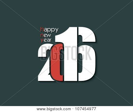2016 Happy New Year Creative Text For Your Greetings Card