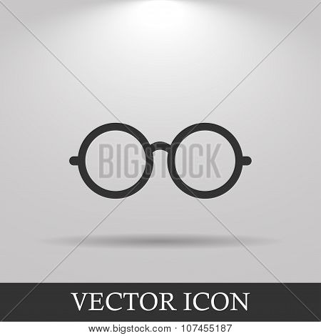 Glasses Icon. Flat Design Style.