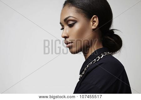 Beauty Latin Woman's Profile Portrait