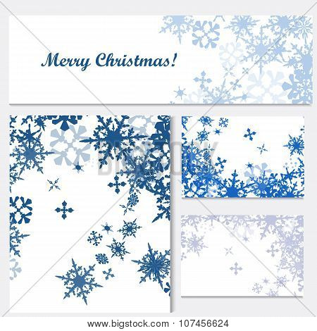Set Of Corporate Christmas Identity Templates With Blue Snowflakes For Design