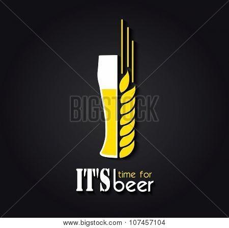 Creative Design Emblem It's Time For Beer. Vector Illustration