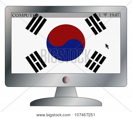 South Korea Flag On Computer Screen With Symbols