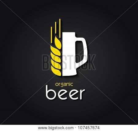 Reative Design  With Beer Mug And Barley. Organic Beer. Vector Illustration