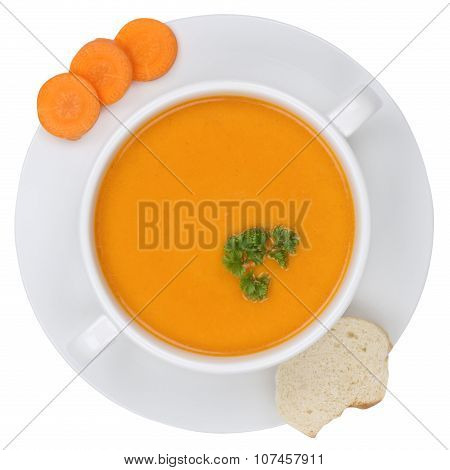 Carrot Soup With Carrots In Bowl From Above Isolated