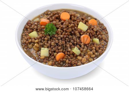 Lentil Soup Stew With Lentils In Bowl Isolated