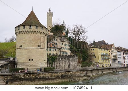 View to the old towers and city wall of Lucerne, Switzerland.