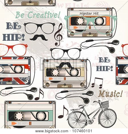 Vector Seamless Background With Old Cassette Headphones Notes Bike And Glasses