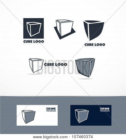 Blue Cube Logo Icon Set