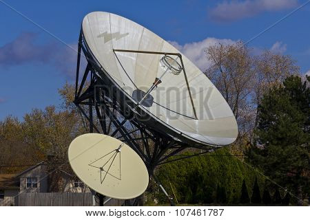 Broadcast Satellite Dishes At A Television Station I