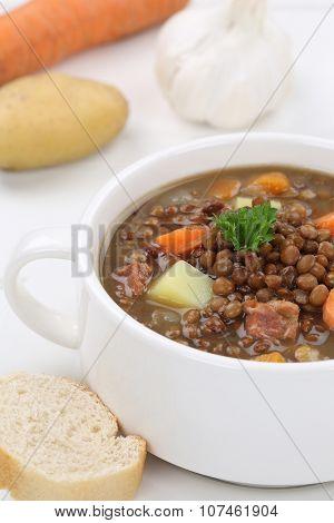Lentil Soup Stew With Lentils Closeup