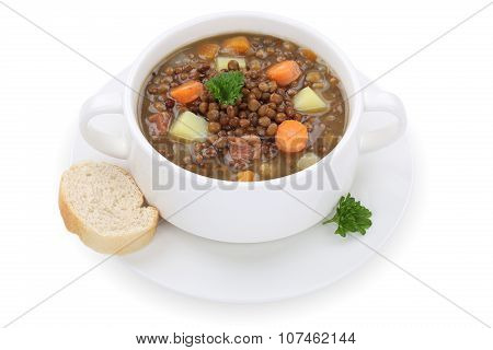 Lentil Soup Stew With Lentils In Cup Isolated