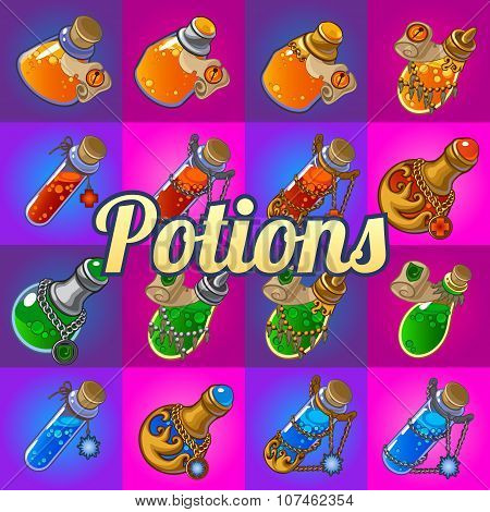 Big set of different magic bottles with potion