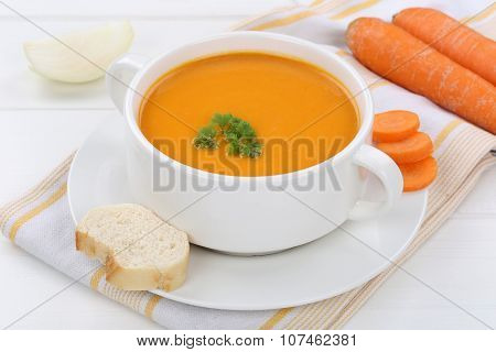 Carrot Soup With Fresh Carrots In Bowl