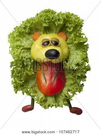 Funny Hedgehog Made Of Pepper And Salad