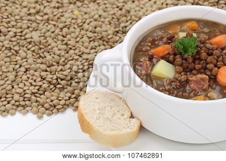 Lentil Soup Stew With Many Lentils And Vegetables Closeup