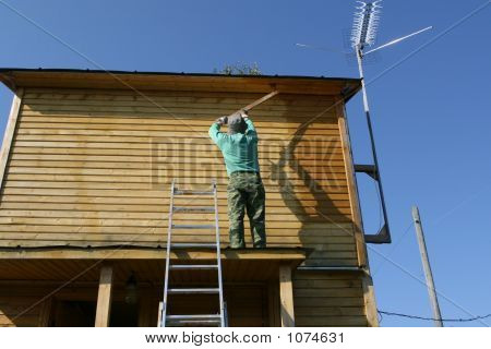 The Person Paints The Wooden House
