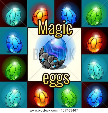 Set of magic set, dragon eggs with backlight