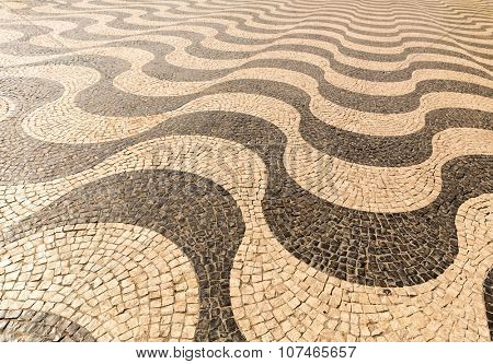 Paved road with black and white pattern background