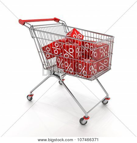 Shopping Cart With Red Cubes Of Percent