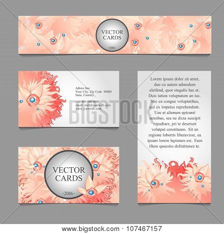 Four cards with pink duvet feather