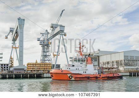 Tugboat And Crane