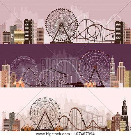 Vector illustration. Ferris wheel. Carnival. Funfair background. Circus park. Roller coaster.
