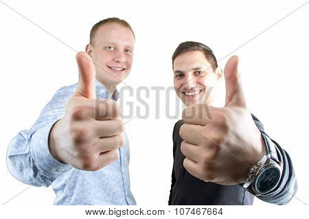 Two happy businessmans on white