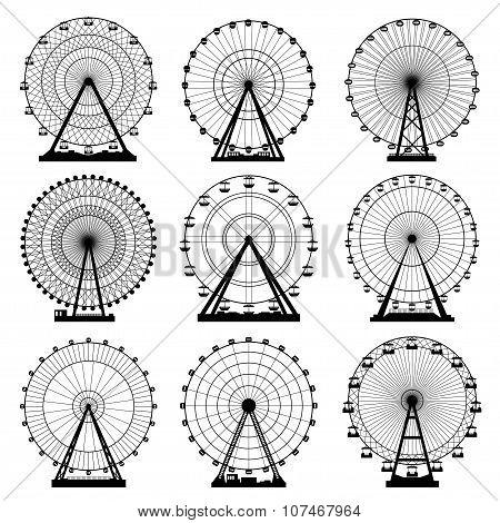 Vector illustrations set. Ferris wheel. Carnival. Funfair background.