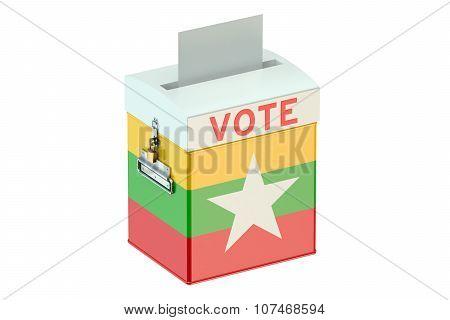 Ballot Box With Flag Of Myanmar