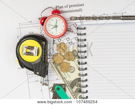 Copybook with drawings and alarm clock