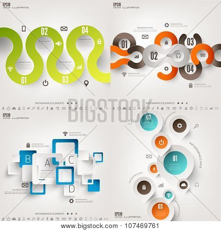Vector illustration. Infograaphics set. Diagram or chart template with steps. Business information a