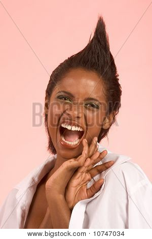 Screaming Ethnic Woman In Sexy Flirting Pose