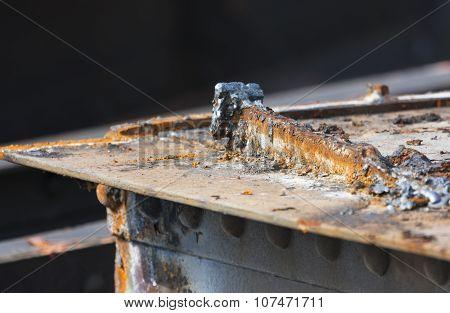 Cut Rusty Steel Detail